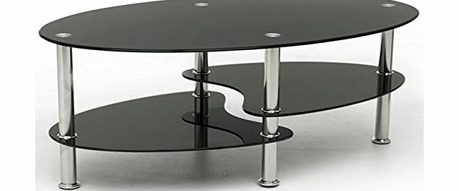Lawrence Furniture Cara Toughened Glass Coffee Table In Black Glass