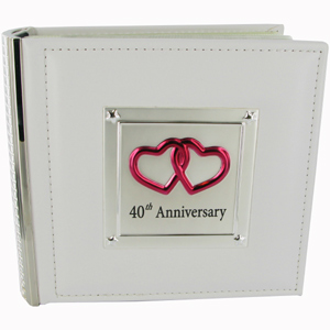 This gorgeous Leatherette and Silver Plated 40th Wedding Anniversary Photo Album makes a beautiful keepsake gift idea for a special couple celebrating their Ruby Wedding Anniversary.The front of the 40th Anniversary photo album has been made with whi - CLICK FOR MORE INFORMATION