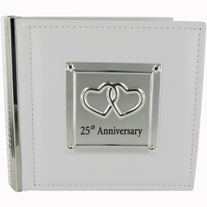 This gorgeous Leather and Silver Plated 25th Wedding Anniversary Photo Album makes a beautiful keeps - CLICK FOR MORE INFORMATION