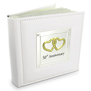 This gorgeous Leather and Silver Plated 50th Wedding Anniversary Photo Album makes a beautiful keeps - CLICK FOR MORE INFORMATION