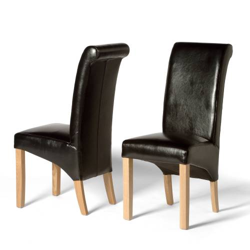 Leather Dining Chairs Ruby Rollback Black Leather Chair X2
