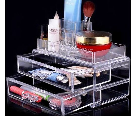 lets go 1 Clear Acrylic Transparent Make Up Box Organiser Cosmetic Display Storage Case