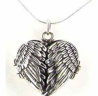 Luxury Ladies Sterling Silver Unusual Hinged Locket Pendant with Opening Angel Wings on 18`` Sterling Silver Snake Chain Necklace - Ideal for Christmas, Birthday, Anniversary or Mothers Day Gift
