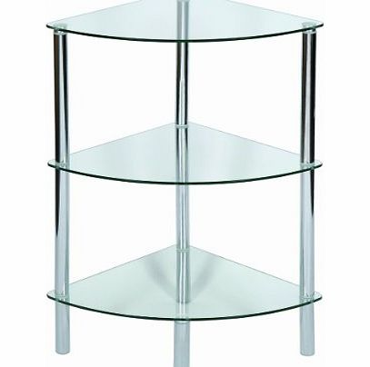 Levv 3-Tier Glass Corner Shelving Unit, Clear