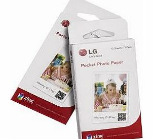 LG PS2203 Photo Printer Paper Without Ink 30 Sheets 5 x 7.6 cm White