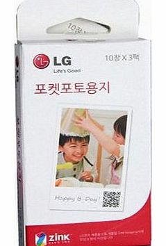 LG Zink Zero Ink 2 x 3-inch Paper for Pocket Photo (10 x 3 Pack)