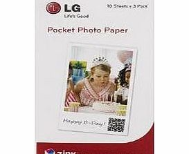 LG Zink Zero Ink 2 x 3-inch Paper for Pocket Photo (3 x 10 Pack)