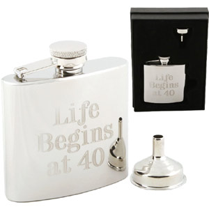 Life Begins At 40 Hip Flask product image