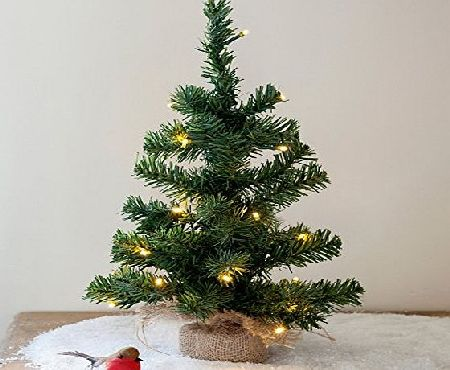Lights4fun 40cm Pre Lit Battery Operated Mini Christmas Tree by Lights4fun