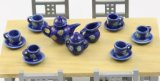 Dolls House 1/12 Scale/ 9 Piece Tea Set Blue Sunflower