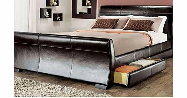 Modern Italian Designer Bed Double Upholstered in Faux Leather, 4ft6 Madrid Brown