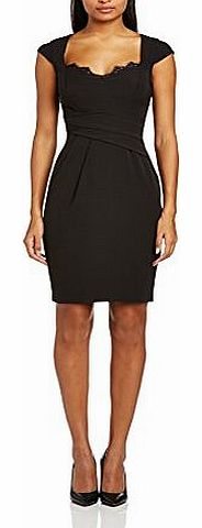 Womens BLK LCE INST Wrap Cocktail Short Sleeve Dress, Black, Size 6