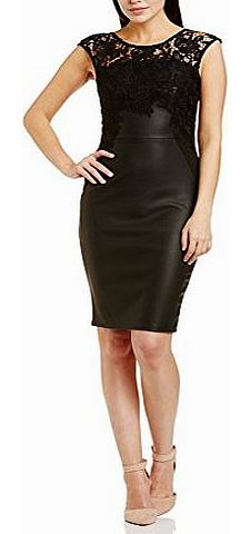 Womens MK BLK Lace APP PU D Cocktail Short Sleeve Dress, Black, Size 16