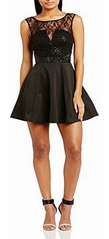 Lipsy Womens Lace Skater Cocktail Sleeveless Dress, Black, Size 10 product image