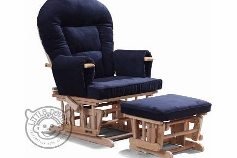Little Devils Direct NAVY BLUE SUPREMO BAMBINO Nursing Glider/Gliding Rocking Maternity Chair with Free Footstool and Protective Cover product image