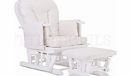 WHITE WOOD - WHITE COLOUR SUPREMO BAMBINO FABRIC NURSING GLIDER / ROCKER / MATERNITY / FEEDING / GLIDER CHAIR (With Locking Mechanism amp; Free Matching Footstool)