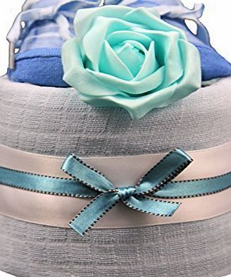 New 1 Tier Turquoise amp; Blue Trainer Socks Nappy Cake for Baby Boy - shower, maternity gift