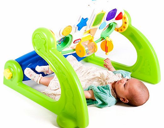 Grow-with-me infant gym transforms into 5 different play centres as your little one develops:Stage 1 of this baby gym is a traditional play gym which includes 3 hanging toys and a motion activated kick pad for baby to play with when lying underneath. - CLICK FOR MORE INFORMATION