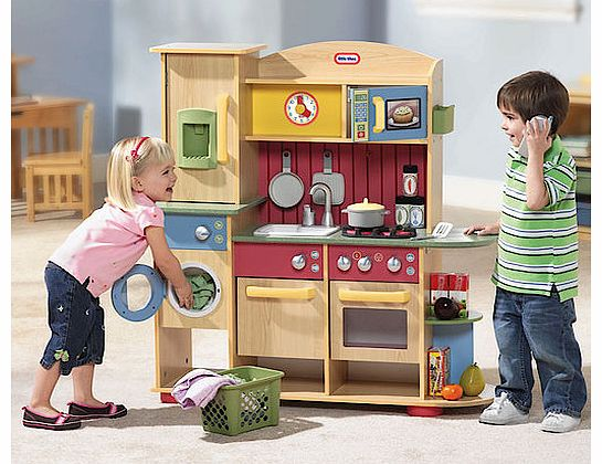 The Little Tikes Cookin Creations Premium Wood Kitchen has everything mummy and daddys little helpers need to cook, clean and do the laundry. This brilliant wooden playset is designed for kids aged 3-10 and includes: Stove top, oven and dishwasher wi - CLICK FOR MORE INFORMATION