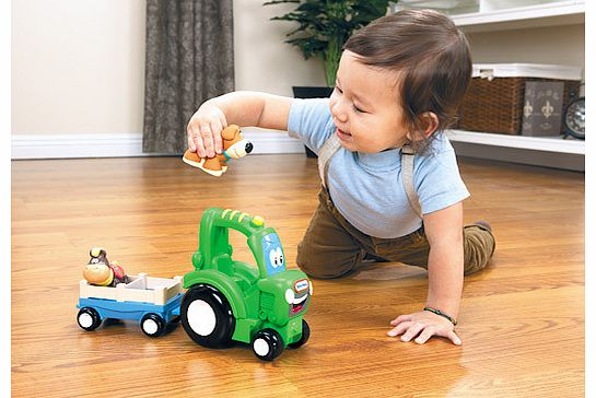 Frankly the Farm Tractor loves to pull along his animal friends. This friendly tractor encourages kids to get down on the floor and play together. Put the dog and cow in the cart then attach it to Frankly for lots of roll around fun. Heandrsquo;s als - CLICK FOR MORE INFORMATION