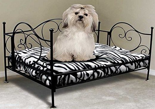 Living Four Post Luxurious Metal Bed Frame Pet Bed-Deluxe Animal Print Zebra-Cat amp; Dog