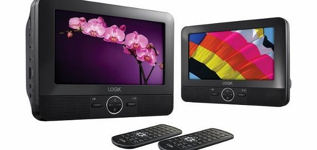 LOGIK L7DUAL11 Portable 7`` Twin Screen Dual In Car Rechargable DVD Player, Mount Kit product image