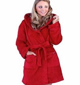 WOMENS LUXURY COREL SOFT SNUGGLE HOODED SHORT BATH ROBE DRESSING GOWN HOUSECOAT WITH BELT RASBERRY 14-16