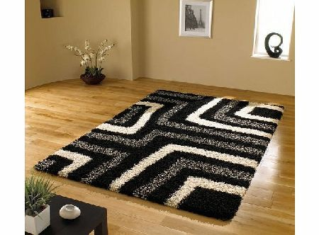Lord of Rugs Large Quality Shaggy Rug in Black amp; Grey 120 x 160 cm (4 x 53``) Carpet product image