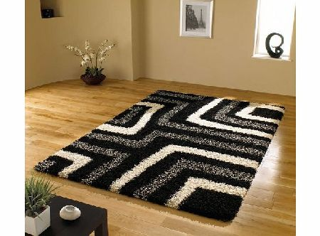 Lord of Rugs Large Quality Shaggy Rug in Black amp; Grey 160 x 230 cm (53`` x 77``) Carpet product image