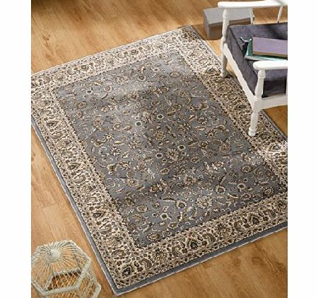 Lord of Rugs Oriental Traditional Bordered Blue Ivory Area Rug in 80 x 150 cm (26 x 5) Carpet product image