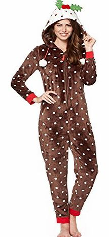 Womens Brown Christmas Pudding Onesie 18