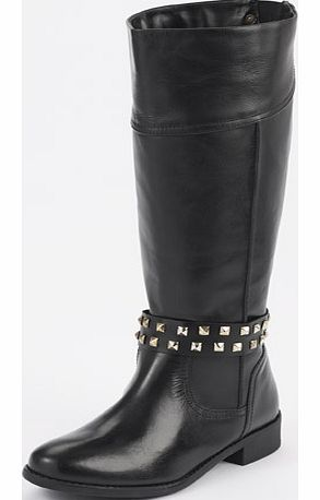 Love label Hawn Flat Leather Studded Riding Boots