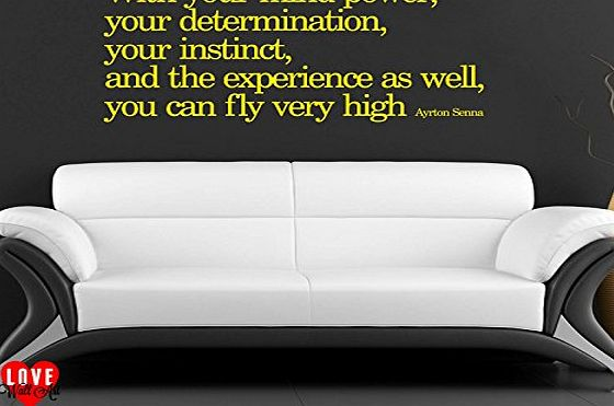 LoveWallArt Ayrton Senna quote With your mind power wall art sticker, Large, Black