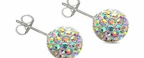 Lovingthebead STUDS-AURORA Silver crystal 8MM white ice crystal,Silver Swarovski crystal Disco ball earrings by utopia - 8MM - bling bling!! .to suite shamballa bracelet Stud Earrings.- silver studs - paris made wi product image