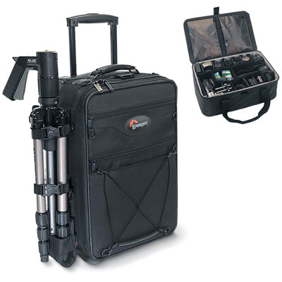 Sized to qualify as airline carry-on and now made with Lowepro�s custom wheel and handle system - CLICK FOR MORE INFORMATION