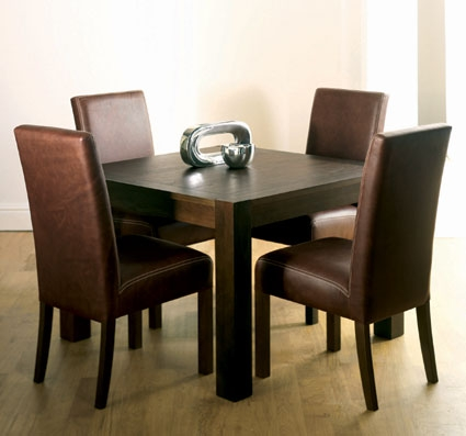 Dining tables lyon walnut square dining table 4 slatted for Square dining table for 4