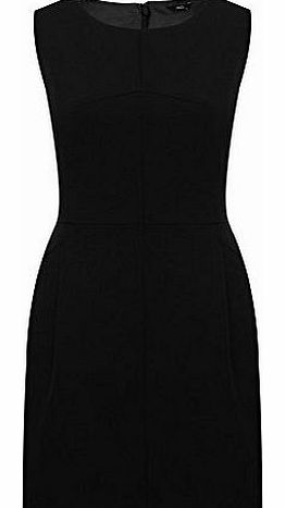 Ladies Sleeveless Bi-Stretch Panelled Bodycon Workwear Pocket Shift Dress Black 16