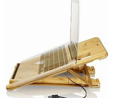 Laptop Riser Fan Cooling Folding Desk Stand with Fan / Cooler / Adjustable Lapdesk / Cooling Pad - 11`` 13`` 15`` - Macbook Pro Air Retina, Acer Aspire, Dell Inspiron, Toshiba Satellite, Lenovo,