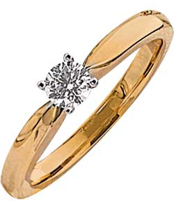 Made for You 9ct Gold ¼ Carat Diamond Solitaire Ring - Size K