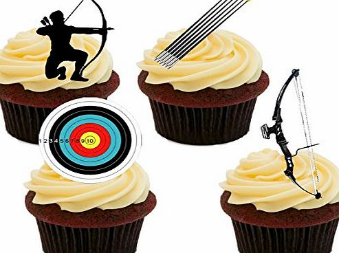 Made4You Archery Edible Cupcake Toppers - Stand-up Wafer Cake Decorations (Pack of 12)