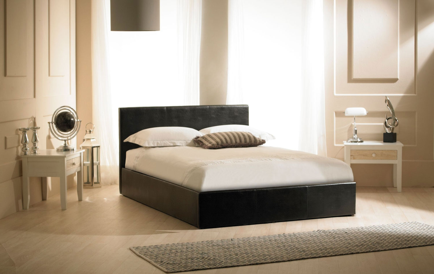 Black Faux Leather Ottoman Bed -
