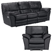 Large Leather Recliner Sofa & Armchair,