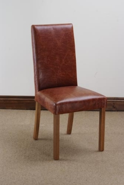 Oak Dining Chair in Antiqued Leather - Pair