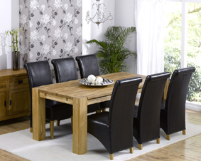 Oak Dining Table - 200cm and 6 Barcelona