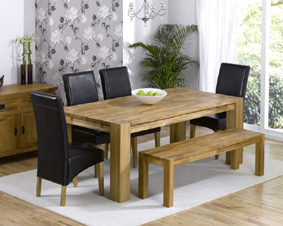 Oak Dining Table - 200cm with Bench and 4
