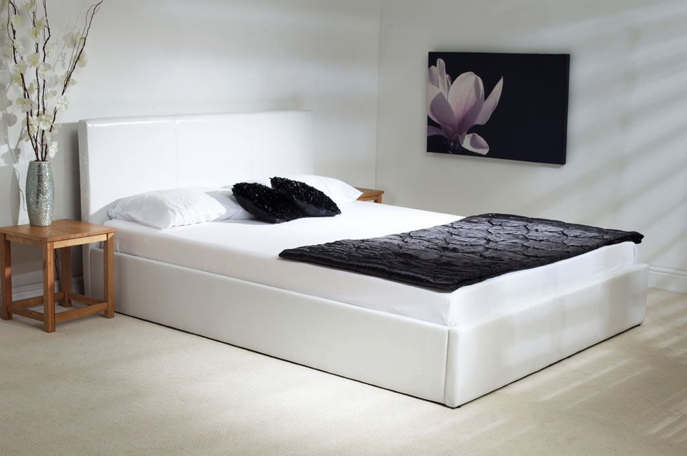 White Faux Leather Ottoman Bed - Small