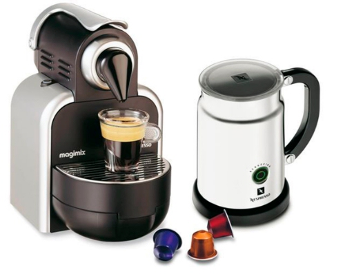 magimix silver finish m100 automatic nespresso machine aeroccino review compare prices buy. Black Bedroom Furniture Sets. Home Design Ideas