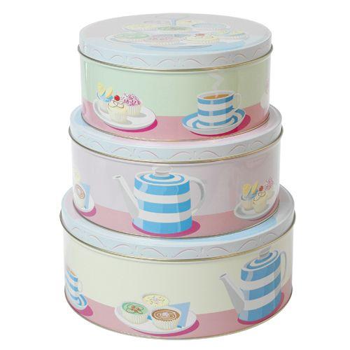 Set Of Square Cake Biscuit Tins
