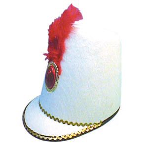 March to the band with this Majorette white felt hat. Can be found in two other colours as well - CLICK FOR MORE INFORMATION