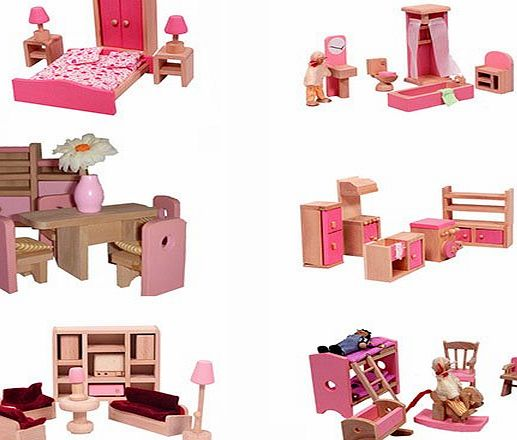 Wooden Doll House 40 Plus Furniture and Dolls (Pink)